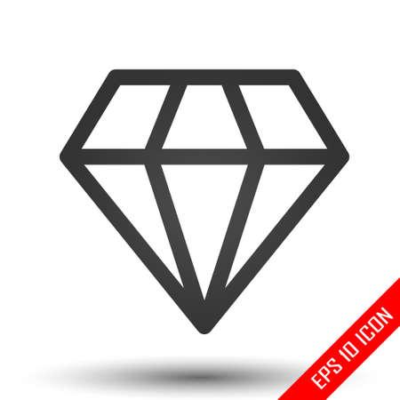 Diamond icon. Simple flat logo of diamond on white background. Vector illustration. 向量圖像