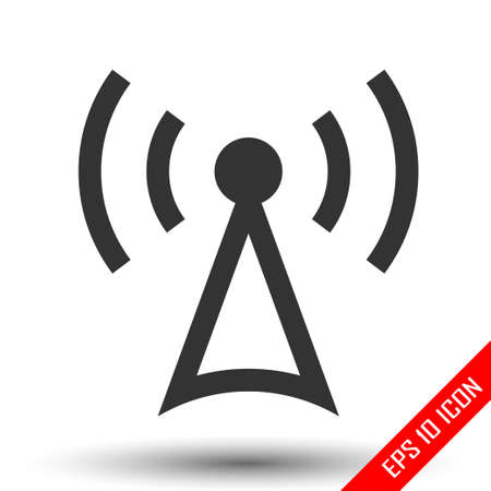 Antenna icon. Simple flat logo of antenna isolated on white background. Vector illustration. Banque d'images - 110683136
