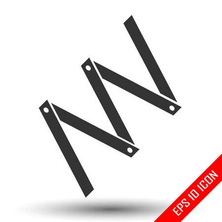 Faltmaßsymbol. Einfaches flaches Logo der Faltmaßnahme auf weißem Hintergrund. Zimmermannsmaß. Vektor-Illustration.