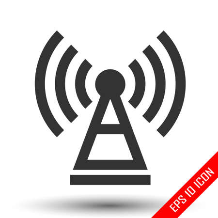 Antenna icon. Simple flat logo of antenna isolated on white background. Vector illustration. Banque d'images - 110679809
