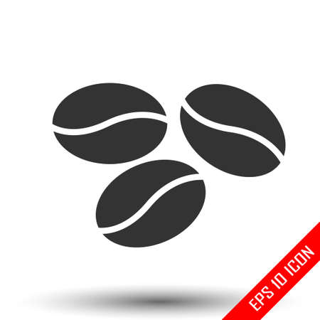 Coffee beans icon. Simple flat logo of coffee beans on white background. Vector illustration.