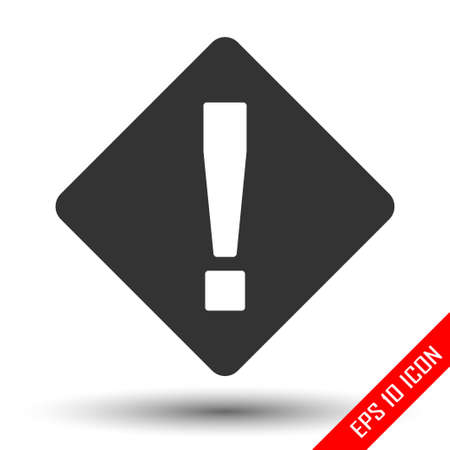 Attention icon. Exclamation sign. Simple flat logo of attention sign isolated on white background. Vector illustration.  イラスト・ベクター素材