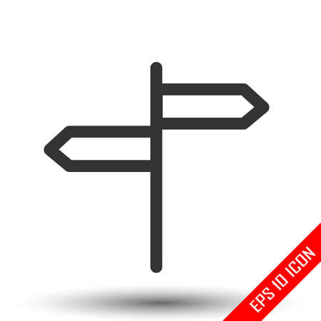 Street pointer icon. Directional arrows sign. Simple flat logo of orientation index isolated on white background. Vector illustration.