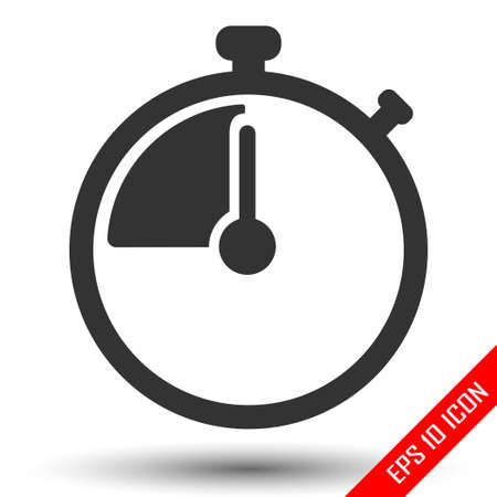 Stopwatch icon. Simple flat logo of stopwatch on white background. Vector illustration.
