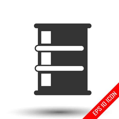 Barrel icon. Simple flat logo of barrel on white background. Vector illustration.