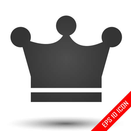 Crown icon. Crown sign. Simple flat logo of crown on white background. Vector illustration.