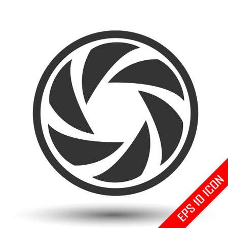 Icono de diafragma. Logotipo plano simple de diafragma sobre fondo blanco. Ilustración de vector.