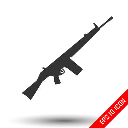 Rifle icon. Rifle sign. Simple flat logo of rifle on white background. Vector illustration.
