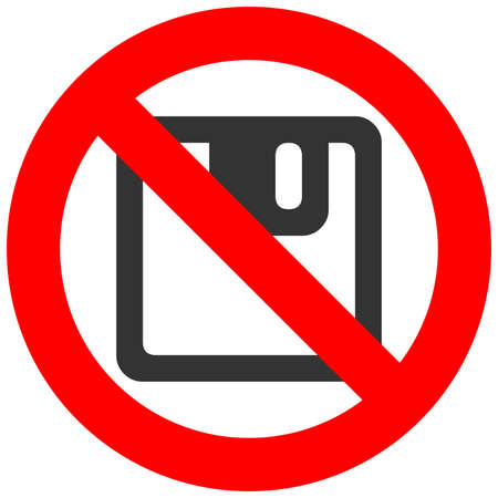 Forbidden sign with floppy icon isolated on white background. Diskette is prohibited vector illustration. Saving is not allowed image. Floppy discs products are banned. Vectores