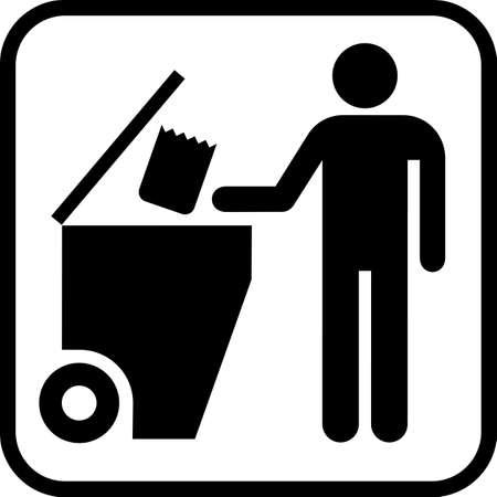 Trash bin on a wheels or Garbage bin on a wheels vector icon illustration.