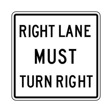 Right lane must turn right sign road vector. Illusztráció