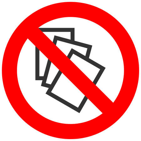 Forbidden sign with three files icon isolated on white background. File is prohibited vector illustration. File is not allowed image. Files are banned.