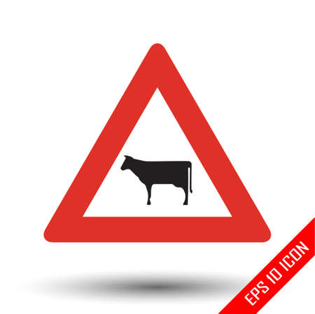 Cow icon. Cow road sign. Vector illustration of triangular sign for rural area traffic sign isolated on white background. Illustration