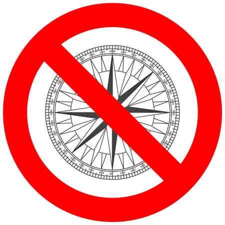 Forbidden sign with compass icon isolated on white background. Compass is prohibited vector illustration. Compass is not allowed image. Compass is banned.