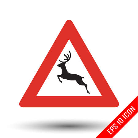 Deer icon. Wild animals road sign. Vector illustration of triangular sign for wild animals traffic sign isolated on white background. Ilustracja