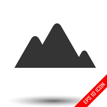 Mountains icon. Simple flat of mountains on white background. Vector illustration.