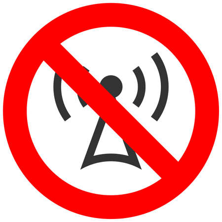 Forbidden sign with wifi antenna icon isolated on white background. Using wifi is prohibited vector illustration. WiFi is not allowed image. Wifi are banned.