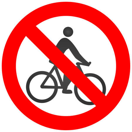 Stop or ban sign with cyclist icon isolated on white background. Cycling is prohibited vector illustration. Riding bike is not allowed image. Bicycles are banned. Ilustrace