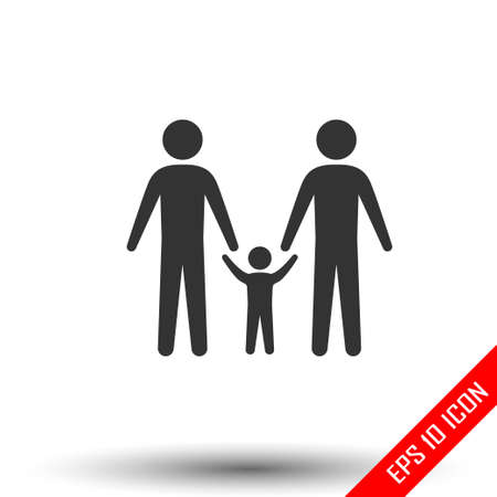 Gay family icon. Simple flat of gay family door on white background. Vector illustration. Stock Illustratie