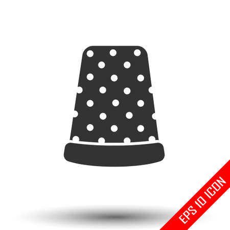 Thimble icon. Simple flat of thimble on white background. Vector illustration.