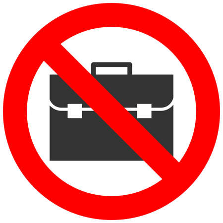 Stop or ban sign with baggage icon isolated on white background. Hand baggage is prohibited vector illustration. Luggage is not allowed image. Carryon is banned. Vettoriali