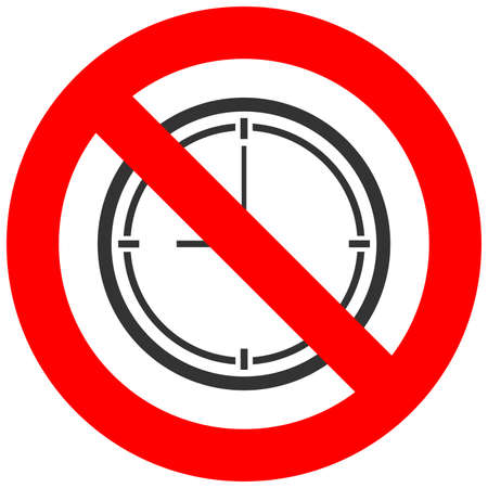 Forbidden sign with watch icon isolated on white background. Clock is prohibited vector illustration. Using clock is not allowed image. Watches are banned. Vettoriali