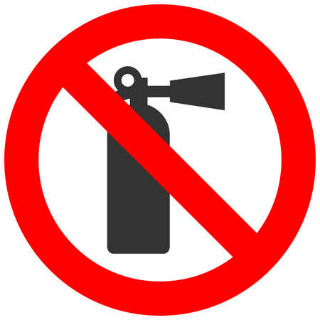 Forbidden sign with fire extinguisher icon isolated on white background. Fire extinguisher is prohibited vector illustration. Fire extinguisher is not allowed image. Extiguishers are banned.