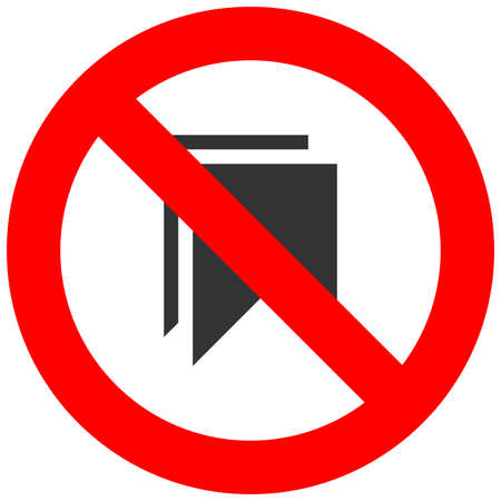 Forbidden sign with bookmark icon isolated on white background. Using bookmark is prohibited vector illustration. Bookmark is not allowed image. Bookmarks are banned. Vettoriali