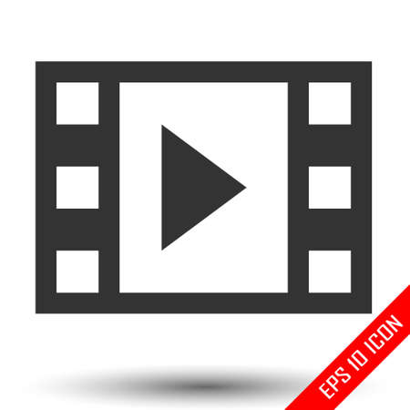 Movie icon. Film sign. Simple flat of movie film media sign on white background. Vector illustration. Vettoriali