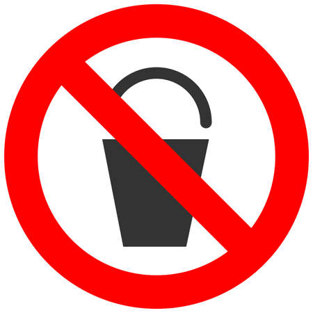Forbidden sign with bucket flat con isolated on white background. Bucket is prohibited vector illustration. Using bucket is not allowed image. Buckets are banned. Vettoriali