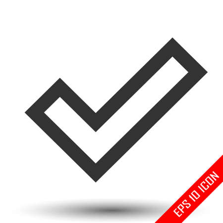 Check sign icon. Confirm sign. Simple flat  of confirmation sign on white background. Vector illustration.