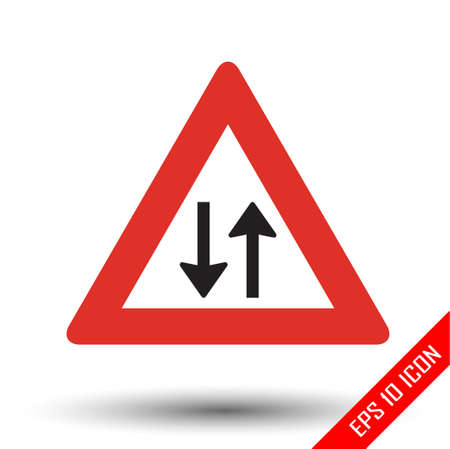 Two way traffic icon. Two way traffic road sign. Picture of triangle two-way sign with red border. Vector illustration of triangular traffic sign for two way isolated on white background. Vettoriali
