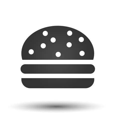 Burger icon. Simple flat of burger isolated on white background. Fastfood vector illustration.