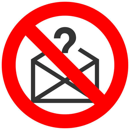 Forbidden sign with envelope and exclamation mark icon isolated on white background. Mail is prohibited vector illustration. Email is not allowed image. E-mail is banned. Vettoriali