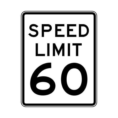 La limite de vitesse 60 feu de circulation sur fond blanc