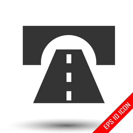 Road icon. Road sign. Simple flat of road on white background. Vector illustration.
