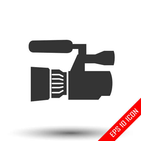 Camcorder icon. Simple flat of camcorder on white background. Vector illustration. Vettoriali