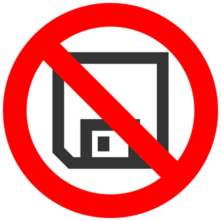 Forbidden sign with floppy icon isolated on white background. Diskette is prohibited vector illustration. Saving is not allowed image. Floppy discs products are banned. Ilustração