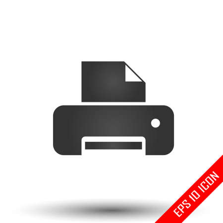 Printer icon. Printer flat isolated on a white background. Vector illustration.