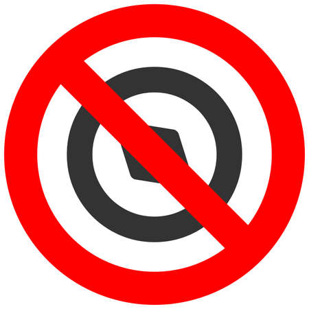 Forbidden sign with compass icon isolated on white background. Compass is prohibited vector illustration. Compass is not allowed image.