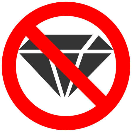 Forbidden sign with diamond icon isolated on white background. Jewelry is prohibited vector illustration. Diamond is not allowed image. Jewelry products are banned.