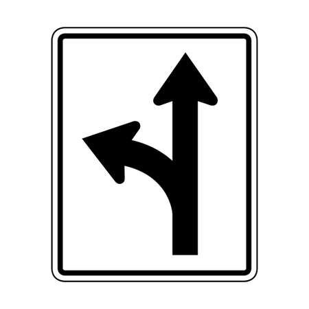 Left or straight only illustration of roadsign isolated on white background Vettoriali