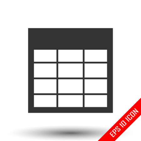 Table icon. Table of statistics sign. Simple flat of empty table document on white background. Vector illustration.