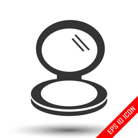 Pocket mirror icon. Little mirror sign. Simple flat of mirror on white background. Vector illustration. 向量圖像