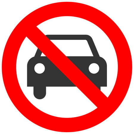 Prohibition sign with car icon isolated on white background. Vehicle is forbidden vector illustration. Car not allowed image. Cars are banned. Vettoriali