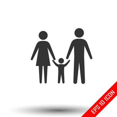 Family icon. Simple flat of family door on white background. Vector illustration.