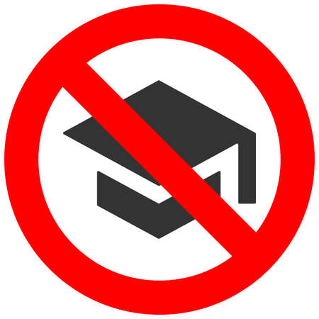 Forbidden sign with graduation cap icon isolated on white background. Education is prohibited vector illustration. Studying not allowed image. Education is banned.