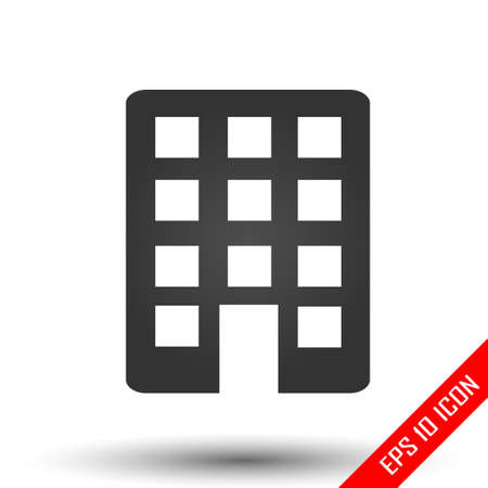 Building icon. Simple flat of building on white background. Vector illustration.