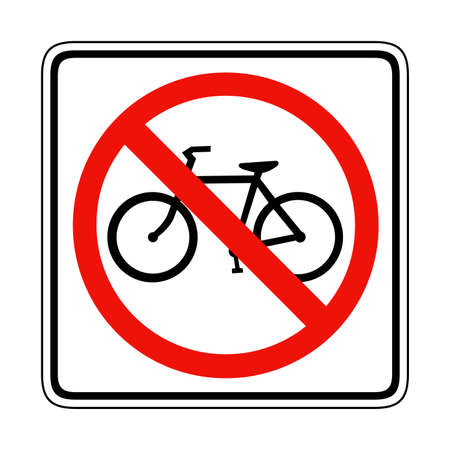 Bike ban sign. Bycicle and bike isolated. Banner prohibition, stop and forbidden, not allowed. Vector illustration Reklamní fotografie - 112446804