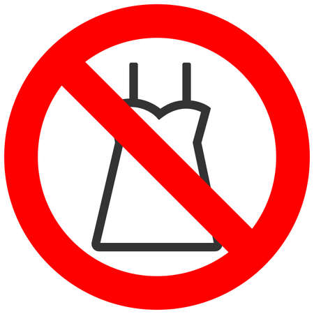 Forbidden sign with dress icon isolated on white background. Dress is prohibited vector illustration. Dress is not allowed image. Dresses are banned.
